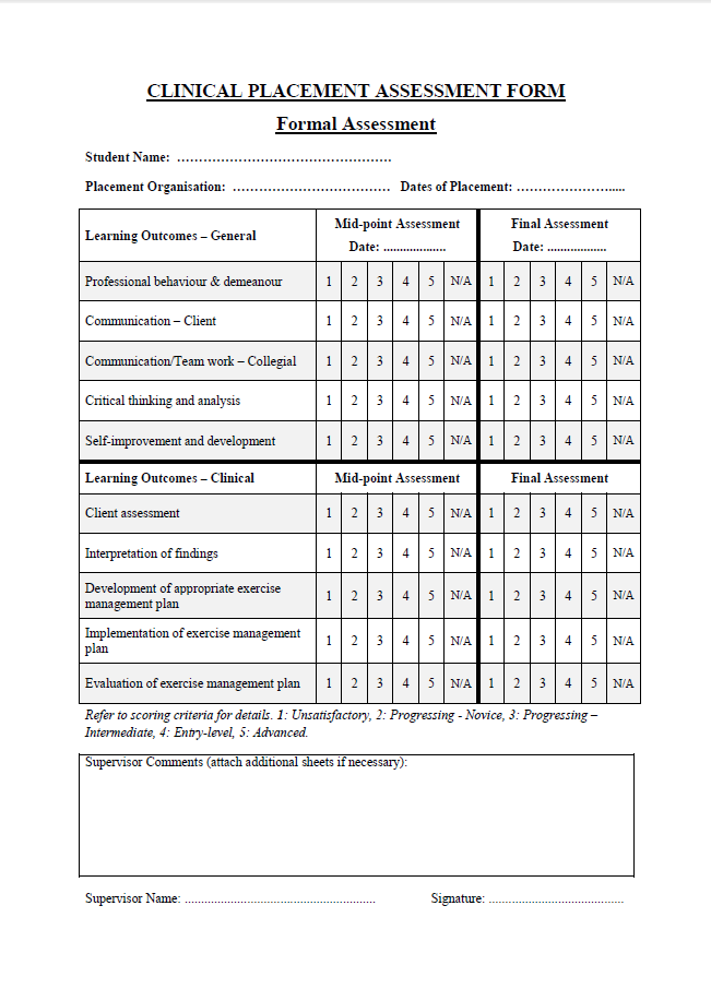 Sample Clinical Placement Student Assessment Griffith University – Sample Student Evaluation Forms